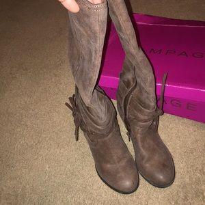 Dark brown wedge boots